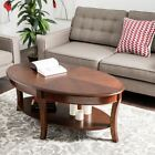 Oval Walnut Accent Coffee Table with Storage Shelf Traditional Home Decor
