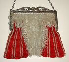 Vintage Red Glass Beaded Flapper Purse Evening Bag w/ Metal Frame. 1920s or 30s.