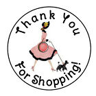 24 PERSONALIZED THANK YOU LADY SHOPPING FAVOR LABELS ROUND STICKERS 167