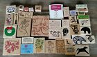 Hero Arts Memory Box Stampin Up Wooden Rubber Mounted Stamps Lot 40 Ink Pad