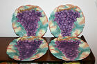 Beautiful Set of 4 Collectible Fitz and Floyd Grape Plates With Autumn Leaves!