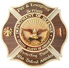 DOD FIRE  EMERGENCY SERVICES EMBLEM Handcrafted Wood Art Military Plaque
