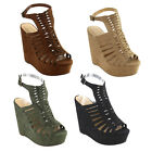 Womens Summer Shoes Caged Strappy Ankle Strap Platform Wedge Sandals