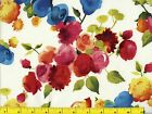 Red Yellow Pink Blue Watercolor Flowers Quilting Fabric by Yard 1047