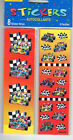 8 STICKER Strips RACE CARS Boy Flags Sports Cars Birthday in COLOR NIP NEW USA
