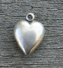 VINTAGE STERLING SILVER PUFFY HEART CHARM Plain with Engraving