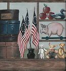 Country Flags Flowers Rooster Pig Etc on Shelf WALLPAPER BORDER