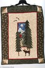 Gorgeous Quilted & Pieced Wall Hanging Mountain Cabin Moose Trees Hand Made 5577