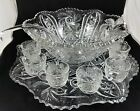 Elegant 15 Pc Set Smith Pressed Glass Punch Bowl Under Plate 12 Cups And Ladle