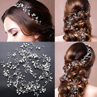 Vintage Wedding Bridal Crystal Pearl Headband Tiara Long Hair Chain Headpiece