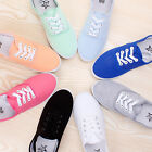Womens Casual Lace Up Flat Canvas Tennis Soft Soled Solid Sneakers Deck ShoesUS