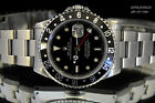 AMAZING MEN'S ROLEX GMT MASTER II 16710 STAINLESS STEEL BLACK DIAL 40MM