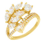 Simulated Diamond Cluster Engagement Ring 14k Gold Over Sterling Silver 925