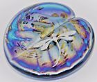 Neo Art Glass blue Lily pad paperweight sterling silver adornment by KHeaton