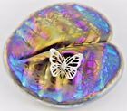 Neo Art Glass iridescent oil Lily pad paperweight  silver adornment by KHeaton