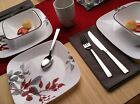 Dinnerware Set Square Kyoto Leaves 16 Piece Service for 4 White Red Gray