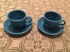 Two Homer Laughlin Fiestaware Peacock Blue Cups and Saucers