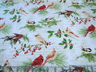 3 Yards Quilt Cotton Fabric David Textiles Holiday Birds Foliage Berries Music