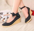 Womens Ankle Strap Mary Janes Cute Dot Shoes Pumps Wedge high Heels Bowknot