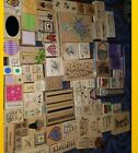 Lot 75+ Mounted Rubber ink Stamps Animals holiday hearts crafts many sizes