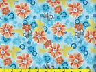 Orange Flowers w Butterflies on Blue Flowers Quilting Fabric by Yard 1053