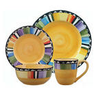 16 Piece Dinnerware Set Gibson Fandango Vibrant Colors Service for 4 Microwave