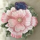 Fitz and Floyd Fauna and Flora Collection Pretty Flower Bowl  Pink Purple Green