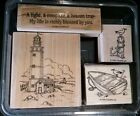 RETIRED Stampin Up Lighthouse Row Boat Seagull Nautical Phrase Rubber Stamp Set