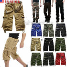 Mens Military Combat Camo Cargo Shorts Pants Work Casual Army Long Trouser 32 34