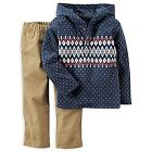 Carters NWT Boy 6M 9M 12M Infant 2pc Fair Isle Fleece Hooded Top Pant Set 24