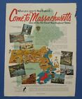 1955 Vintage Holiday Magazine Single Page Ad Come To Massachusetts
