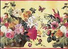 Beautiful Flowers in Basket Butterflies Yellow with Pink Trim WALLPAPER BORDER