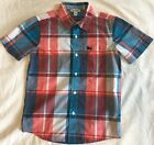 Old Navy Boys Plaid Button Up Short Sleeve Dress Shirt Size M