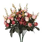 Houda Artificial Silk Fake Flowers Rose Floral Decor BouquetPack of 2 Pink