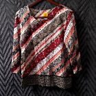 Ruby Rd XL Knit Top Animal Print Diagonal Stripe Red Sequin Embellishments