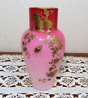 GORGEOUS ANTIQUE WEBB PEACH BLOW  GOLD ENAMEL WITH FLOWERS AND INSECTS VASE 6