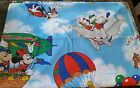 VINTAGE DISNEY MICKEY MOUSE TWIN FLAT sheet AIR MOBILE Flying Dumbo fabric craft