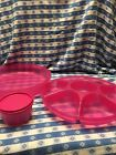 TUPPERWARE LARGE SERVING CENTER SET Veggies Chips Dips FUCHSIA KISS Pink