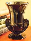 VINTAGE BLACK OPAQUE PRESSED GLASS ART DECO VASE c1920 40s MUSCLE 7 H
