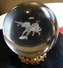 NEW 3 D LASER ETCHED ROUND CRYSTAL GLASS BALL PEGASUS 80MM 3 INCH WITH STAND