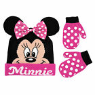 Disney Minnie Mouse Bowtique Polka Dot Hat and Mitten Set Toddler Girls Age 2 4