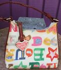 Dooney  Bourke Bitsy Bag Multi Color Hearts Stars Signature Colored Zipper