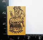 Witch With Cauldron Halloween Wood Mounted Rubber Stamp 12A