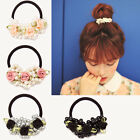 Women Girls Pretty Rose Flower Faux Pearl Hair Band Rope Elastic Ponytail Holder
