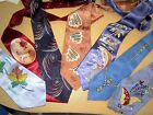 7 Lot Vtg Abstract Swing Art Deco Neck Tie Rockabilly Fish Handpainted Wide 40s