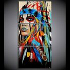 Lady Native American Indian Wall Decor Art Painting Picture Print On Canvas 3 Pc