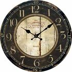 Unique Retro Vintage Rustic Country Wall Clock Wood Round ANTIQUE HOME Office US