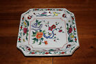 Square Candy Dish Tray Porcelain Hand Painted Flowers Red Orange Yellow 8 Inches