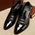 Mens Dress Dhoes Business Pointed Toe Shiny Lace-up Wedding Shoes Patent Leather