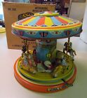 Vintage J Chein Mechanical Playland Merry Go Round Working and Original Box